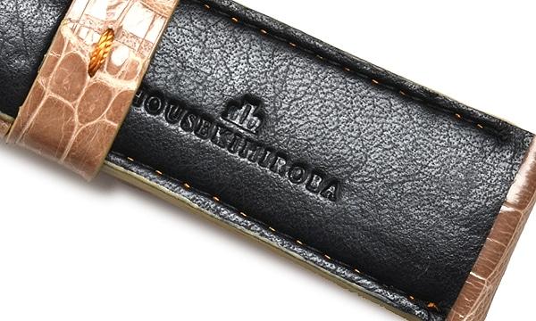 宝石広場オリジナル パネライ用ストラップ クロコダイル 尾錠用 ベージュ/ブラウン 24‐22mm