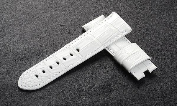 宝石広場オリジナル パネライ用ストラップ クロコダイル バックル用 ホワイト 24‐22mm