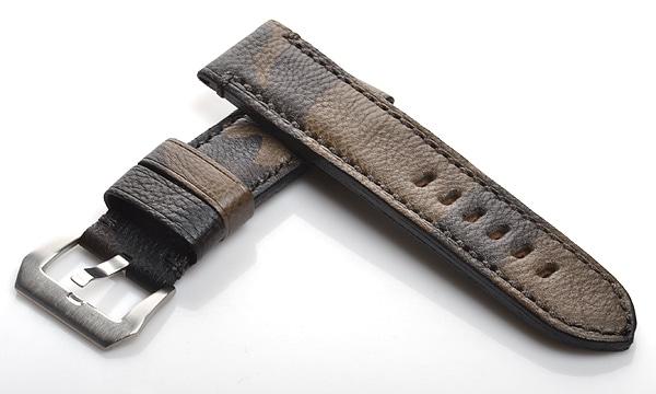宝石広場オリジナル パネライ用ストラップ カーフ ステンレス尾錠付 カモフラージュ 24‐24mm