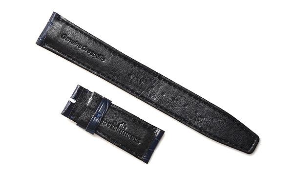 宝石広場オリジナル IWCポルトギーゼクロノ用ストラップ クロコダイル バックル用 ネイビー/ネイビー 20‐18mm