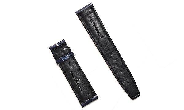 宝石広場オリジナル IWCポルトギーゼクロノ用ストラップ クロコダイル 尾錠用 ネイビー/ネイビー 20‐18mm
