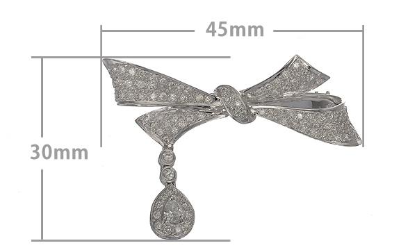 リボン ペアシェイプダイヤ・ダイヤ ブローチ