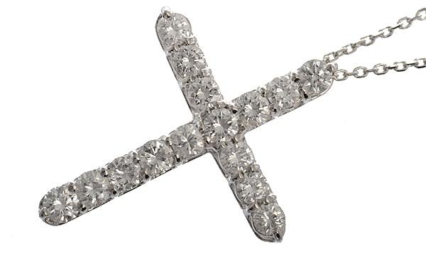 クロス ダイヤ ペンダントネックレス