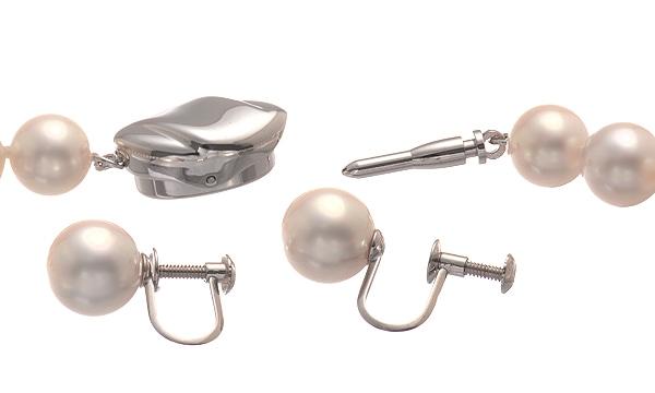 オーロラ花珠パール チョーカー/イヤリングセット パール直径約7.5〜8.0mm/7.9mm