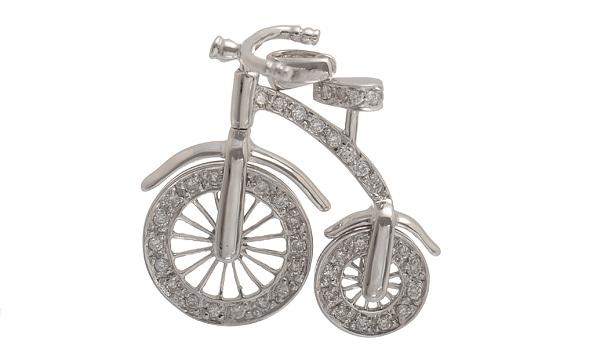 自転車モチーフ ダイヤ ペンダントヘッド