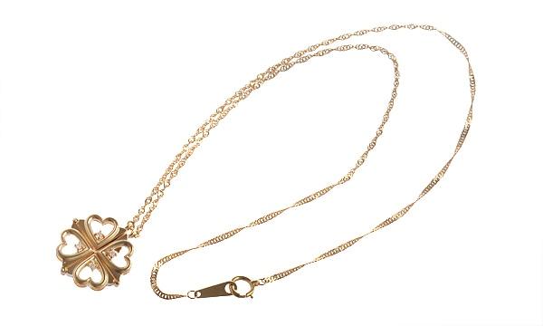 クローバー/ハートモチーフ 4Pダイヤ ネックレス