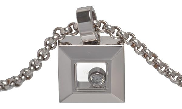 ハッピーダイヤモンド アイコン スクエア 1Pダイヤ ペンダントネックレス