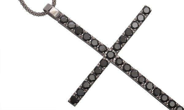 ブラックダイヤ クロス ペンダントネックレス