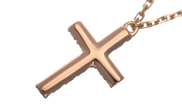 ハート&シンボル クロス ピンクサファイア ネックレス