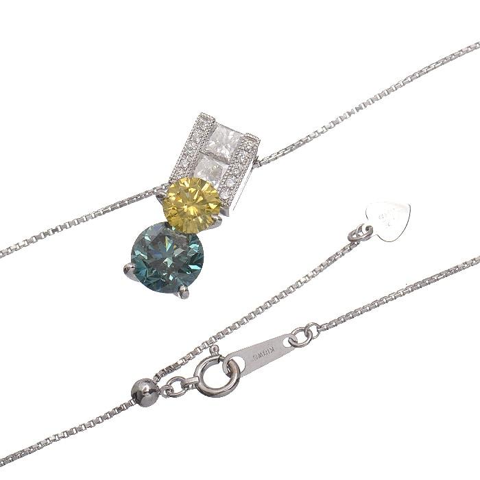 ブルーダイヤ・イエローダイヤ・プリンセスカットダイヤ・ダイヤ<br>ペンダントネックレス