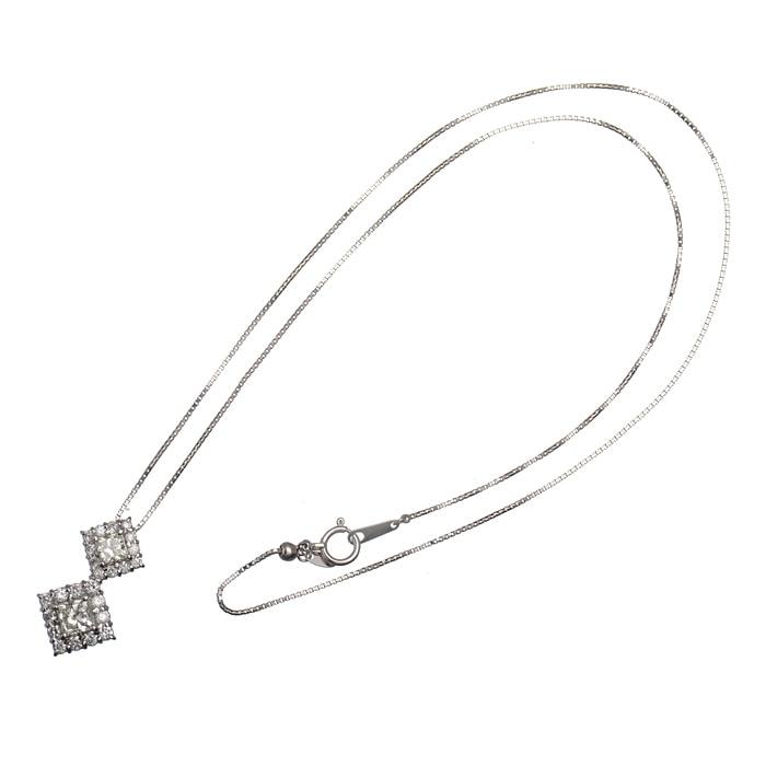 プリンセスカット2ポイントダイヤ・ダイヤ ペンダントネックレス