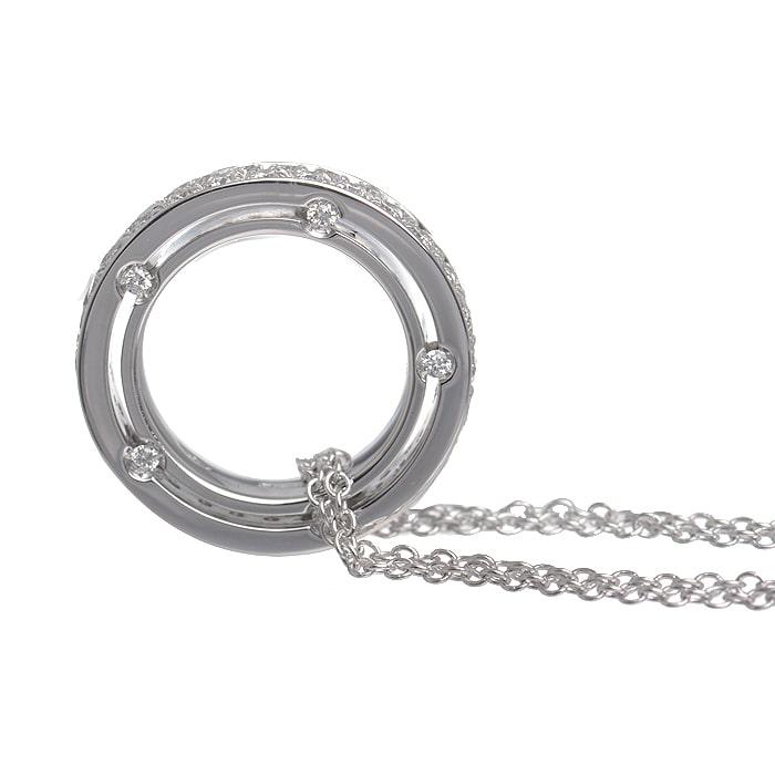 Dサイド フルダイヤ ダブルチェーン 10Pダイヤ ネックレス