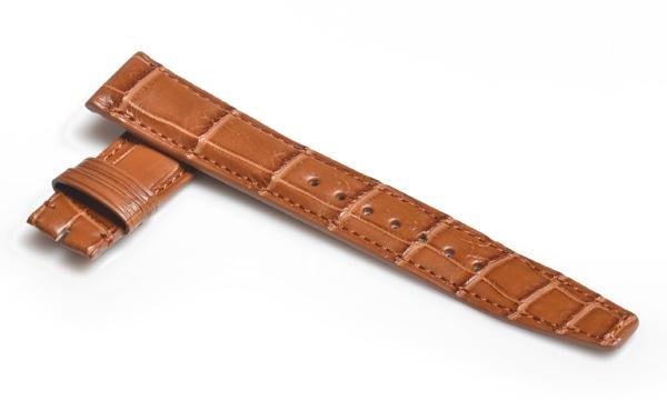 宝石広場オリジナル IWCポルトギーゼクロノ用ストラップ クロコダイル バックル用 ブラウン/ブラウン 20‐18mm