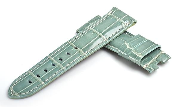宝石広場オリジナル パネライ用ストラップ クロコダイル バックル用 アクアブルー(シャイニー)/ホワイト 24‐22mm