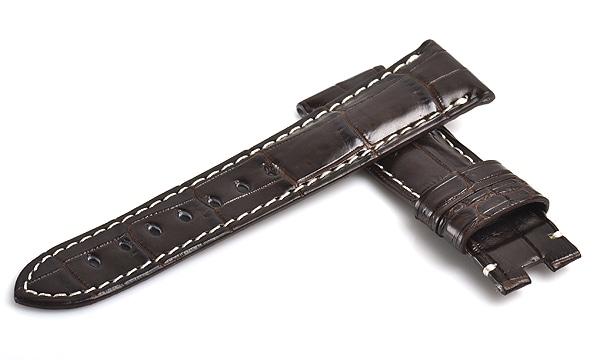 宝石広場オリジナル パネライ用ストラップ クロコダイル バックル用 ダークブラウン/ホワイト 22‐20mm