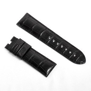 宝石広場オリジナル パネライ用ストラップ クロコダイル バックル用 ブラック 24‐22mm